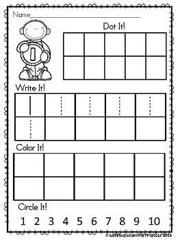 Kindergarten Math Worksheets Introducing Numbers 1 - 10