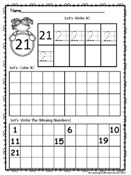 Kindergarten Math Worksheets Introducing Numbers 21 - 30