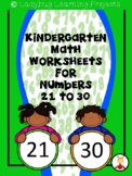 Kindergarten Math Worksheets Introducing Numbers 21 - 30