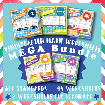 Kindergarten Math Worksheets MEGA Bundle {Common-Core Aligned Worksheets}