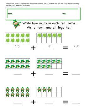 Kindergarten Math Worksheets St Patrick Day theme