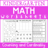 Kindergarten Math Worksheets for Counting and Cardinality Standards