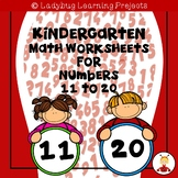 Kindergarten Math Worksheets for Numbers 11 to 20