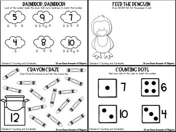Kindergarten Math Write and Wipe Task Cards- Counting and Cardinality