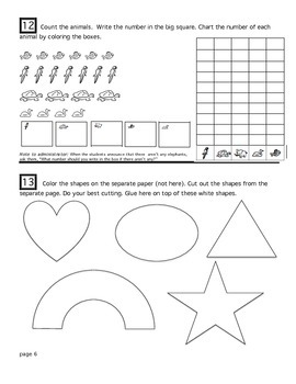 Kindergarten Math and Fine Motor Assessment #3 (Day 120)