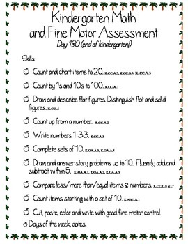 Kindergarten Math and Fine Motor Assessment #4 (End of the Year)