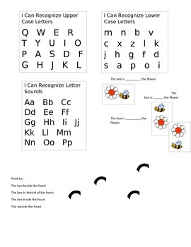 Kindergarten Math and Language Arts Assessment sheets