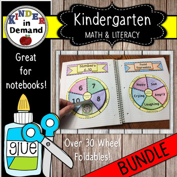 Kindergarten Math and Literacy Wheel Foldables Bundle