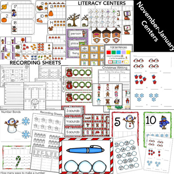 Kindergarten Math and Literacy Centers for the Entire Year