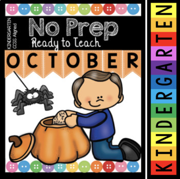 Kindergarten Math and Literacy Pack - No Prep - October Worksheets