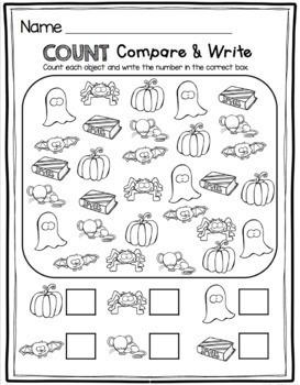 Kindergarten Math and Literacy Pack - No Prep - October Worksheets