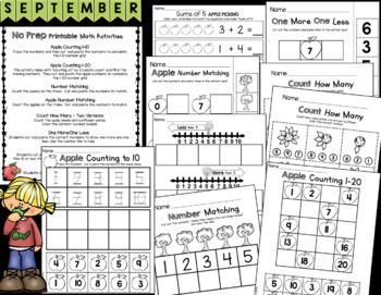Kindergarten Back to School Activities - Math and Reading Worksheets - Apples