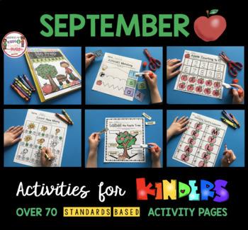Kindergarten Back to School Activities - September Math and Reading Worksheets