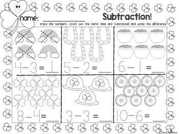 Kindergarten Math and Literacy Print and Go St. Patrick's Day Pack