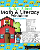 Kindergarten Math and Literacy Printables - Back to School