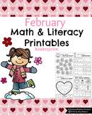 Kindergarten Math and Literacy Printables - February