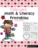 Kindergarten Math and Literacy Printables - February