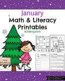 Kindergarten Math and Literacy Printables - January