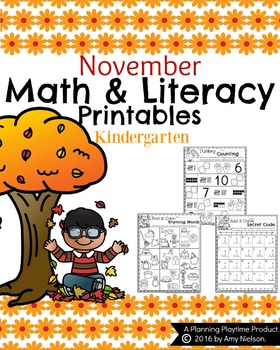 Kindergarten Math and Literacy Printables - November