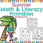 Kindergarten Math and Literacy Printables - Summer