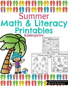 Kindergarten Math and Literacy Printables - Summer