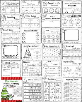 Kindergarten Math and Literacy Printables - Winter Bundle