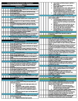 Kindergarten Math and Reading Common Core Checklist - Quarters Bundle