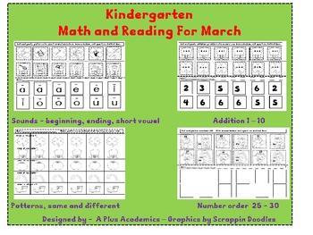 Kindergarten Saint Patrick's Day Math and Reading