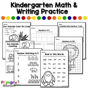 Kindergarten Math and Writing Practice - Zoo Animals