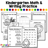 Kindergarten Math and Writing Practice - Zoo Animals