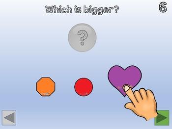 Kindergarten Math - attributes - big or small interactive lesson