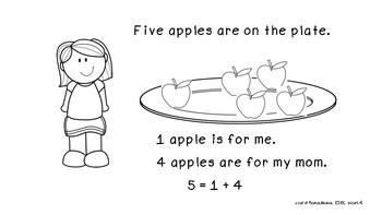 Free  Kindergarten Math mini book: Decomposing number 5 (K.OA.A.3 )