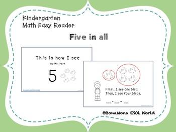 Kindergarten Math mini book-  Five in all