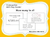 Kindergarten math easy reader -  How many