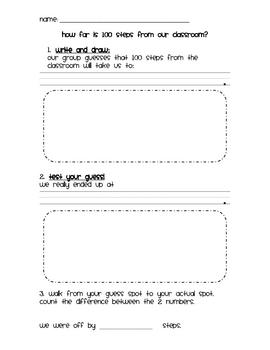 Kindergarten Math with 100 - 100 Steps Estimation Activity