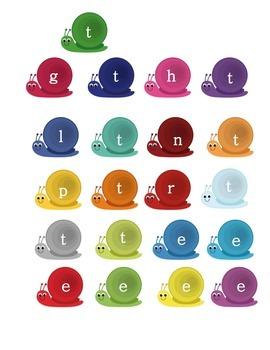 Kindergarten Sweet Snail CVC Word Mix Up Literacy Center Week 1 & 2