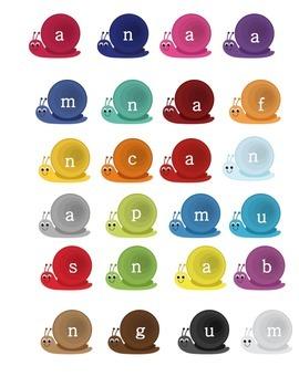 Kindergarten Sweet Snail CVC Word Mix Up Literacy Center Week 3 & 4