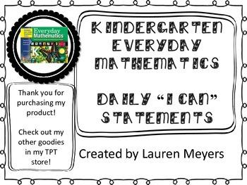 "Everyday Math Kindergarten ""I Can"" Statements"