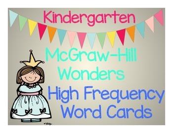 Kindergarten McGraw Hill Wonders High Frequency Word Cards