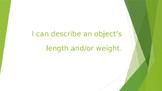 """Kindergarten Measurement Standards in """"I Can"""" statements"""