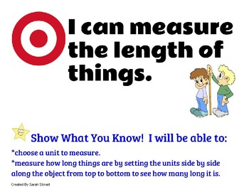 Kindergarten Measurement and Graphing Learning Targets w/ Success Criteria