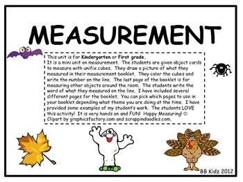 Kindergarten Measurement with Fall, Bats, Turkeys, Pumpkins, Leaves, and Ghosts.