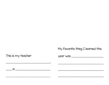 Kindergarten Memories Booklet