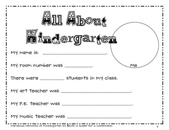 Kindergarten Memory Book - An End of Year Activity