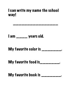 Kindergarten Memory Book- End of the Year