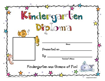 Kindergarten Memory Book and Diploma- Ocean Theme - EDITABLE