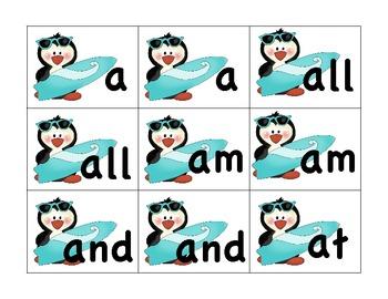 Kindergarten Memory High Frequency Words Full Set
