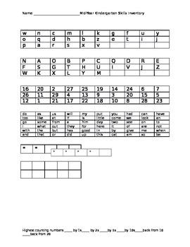Kindergarten Mid-Year Assessment