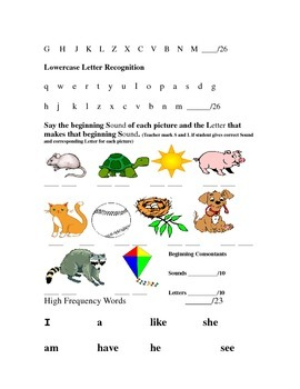 Kindergarten Mid-Year, January Assessment