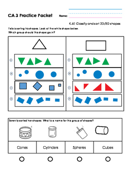 Kindergarten Middle of Year Math Practice Packet